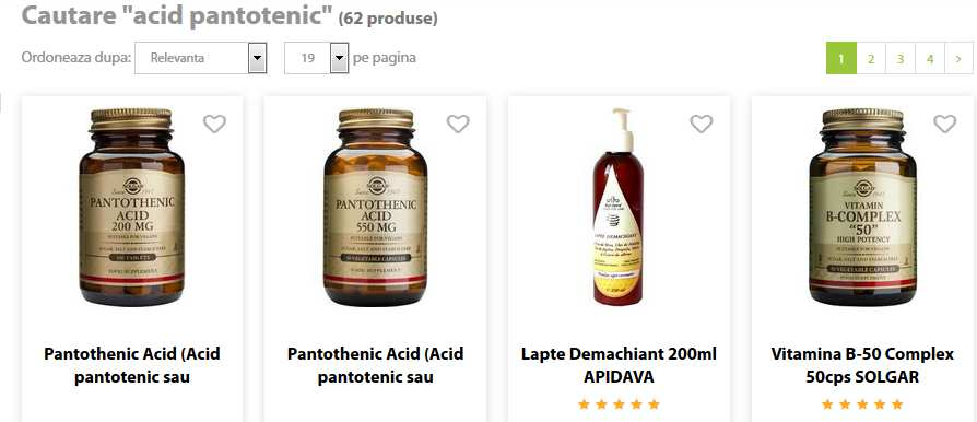 acid pantotenic produse pret